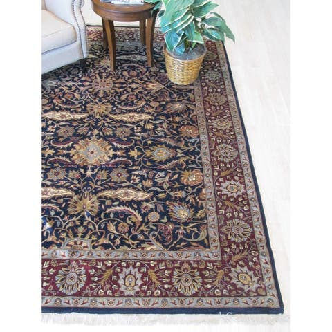 Navy/burgundy Hand-knotted Wool Traditional Agra Rug - 7'10 x 9' 5