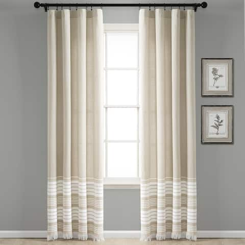 Porch & Den Masters Yarn Dyed Cotton Fringe Window Curtain Panel Pair