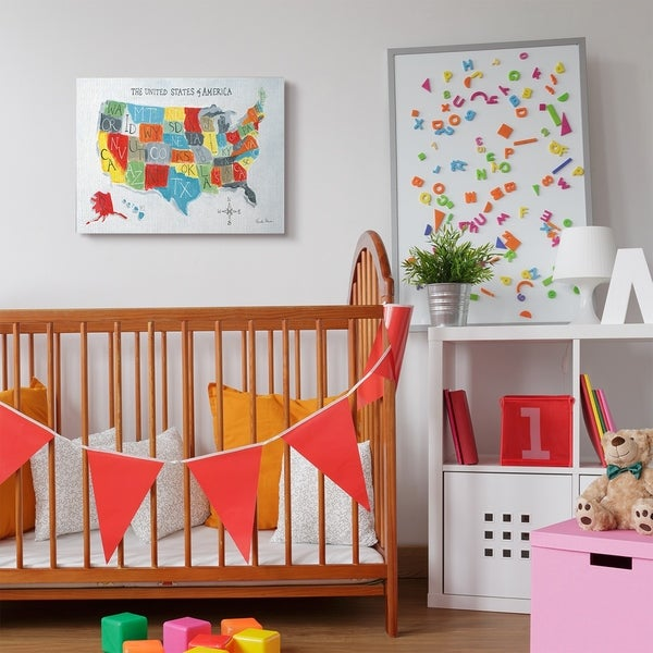 Shop The Kids Room by Stupell Colorful World Map of USA Kids Nursery ...