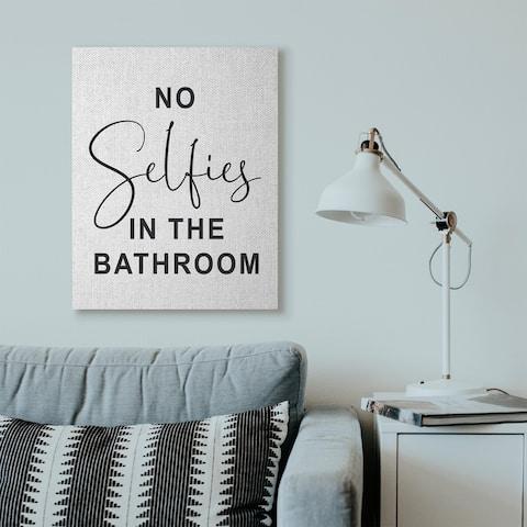 Porch & Den 'No Selfies' Funny Black and White Canvas - Multi-Color