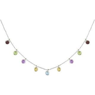 Miadora Sterling Silver Multi Gemstone Cleopatra Necklace