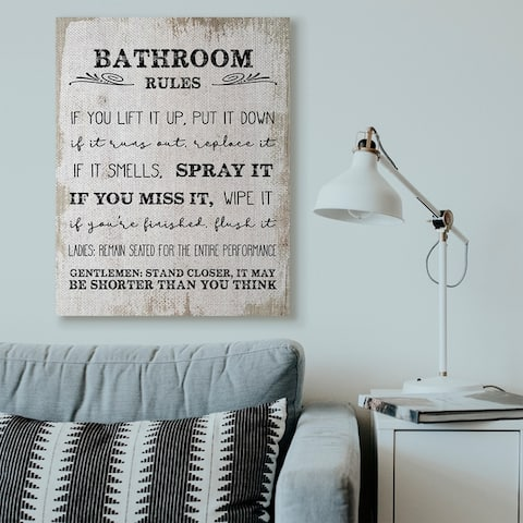 Stupell Industries Bathroom Rules Funny Word Wood Textured Design,16x20, Proudly Made in USA - Multi-Color