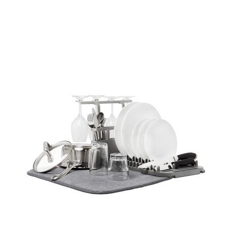 Umbra UDRY Dish Drying Rack and Microfiber Dish Mat with Stemware Holder and Utensil Caddy