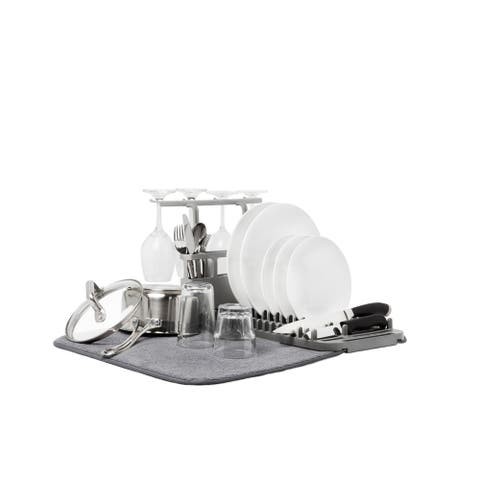 Umbra UDRY Dish Drying Rack and Microfiber Dish Mat with Stemware Holder and Utensil Caddy - charcoal