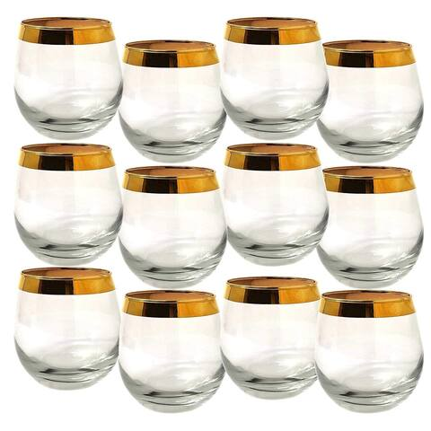Set of 12 Italian Glass Gold Rim Luxury Design Stemless Wine Glasses,Clear Solid Base-15 ounce