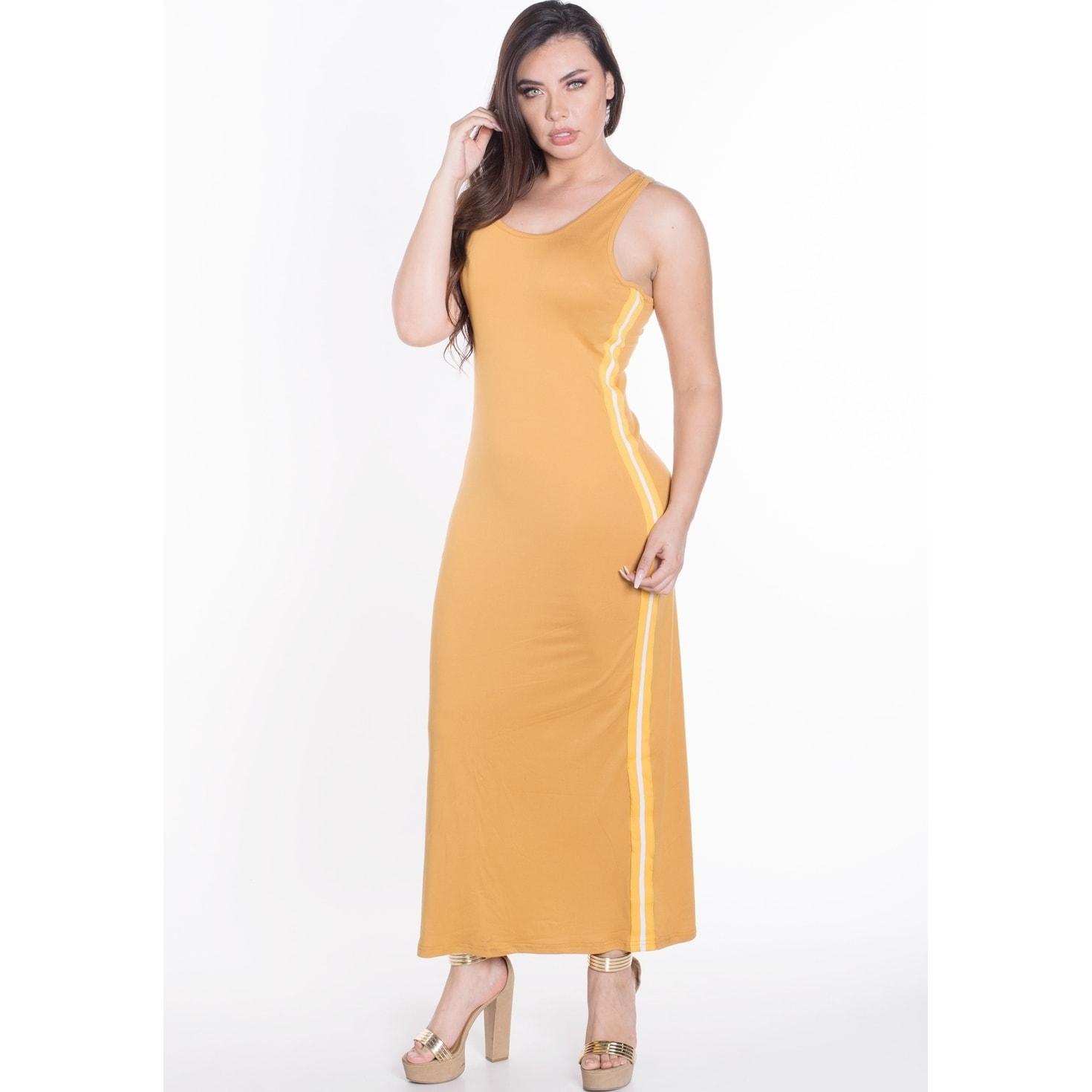 Women\'s Plus Size Sleeveless Bodycon Maxi Dress with Contrasting Yellow  Side Stripes