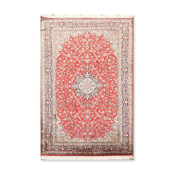 """Hand Knotted Certified Silk 340-400 KPSI Persian Oriental Area Rug (3'4""""x5'1"""")"""