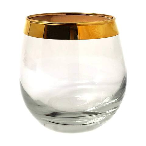 Gold Rim Luxury Design Stemless Wine Glasses,Clear Solid Base-15 ounce