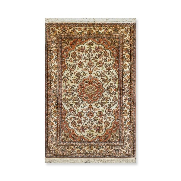 """Hand Knotted Certified Silk 340-400 KPSI Persian Oriental Area Rug (2'7""""x4'2"""")"""