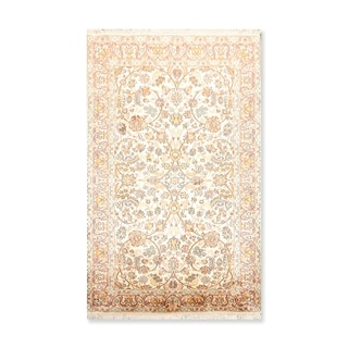 "Qum Hand Knotted Certified Silk 340-400 KPSI Persian Oriental Area Rug   (3'x5'3"")"