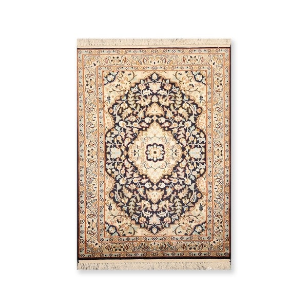 """Hand Knotted Certified Silk 340-400 KPSI Persian Oriental Area Rug (2'x3'2"""")"""