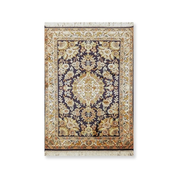 """Hand Knotted Certified Silk 340-400 KPSI Persian Oriental Area Rug (2'1""""x3'2"""")"""