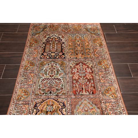"Hand Knotted HamadanCertified Silk 340-400 KPSI Persian Oriental Area Rug (3'x4'10"")"