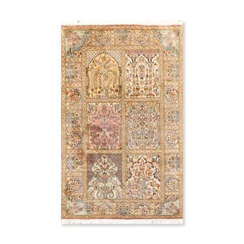 Hand Knotted Hamadan Box Certified Silk 340-400 KPSI Persian Oriental Area Rug (3'x5')