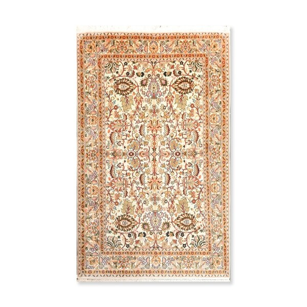 "Hand Knotted AlloverCertified Silk 340-400 KPSI Persian Oriental Area Rug (3'2""x5')"