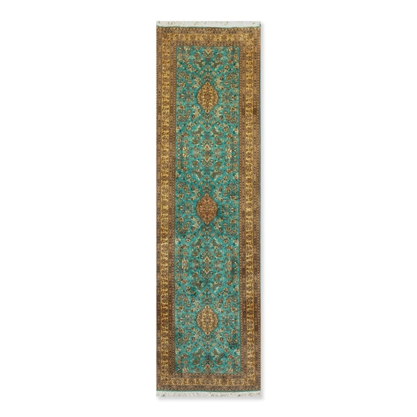 "Hand Knotted Certified Silk 340-400 KPSI Persian Oriental Runner Rug (2'6""x9'1"")"