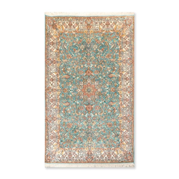 "Hand Knotted Certified Silk 340-400 KPSI Persian Oriental Area Rug (3'1""x5'4"")"