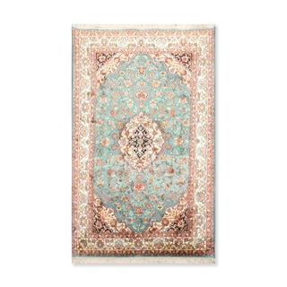 "Hand Knotted Certified Silk 340-400 KPSI Persian Oriental Area Rug (3'2""x5')"
