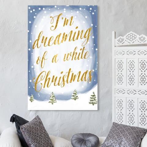 Oliver Gal 'White Christmas' Holiday and Seasonal Wall Art Canvas Print - Gold, Blue