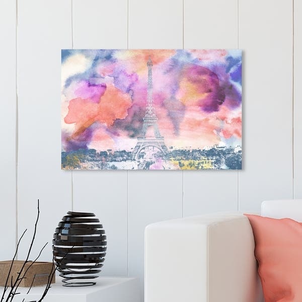 "Paris City Skyline France watercolor Abstract Canvas Art Print 24x16/"""