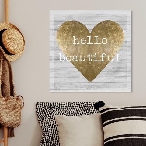 Oliver Gal 'Hello Beautiful' Fashion and Glam Wall Art Canvas Print - Gold, Gray