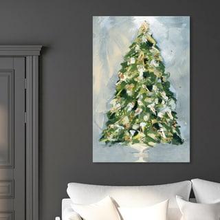 Oliver Gal 'Christmas Tree 3' Holiday and Seasonal Wall Art Canvas Print - Green, Gold