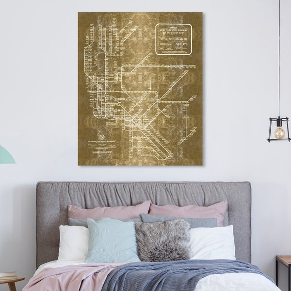 New York Subway Map For Sale.Shop Oliver Gal New York Subway Map 1958 Inverted Gold Metallic