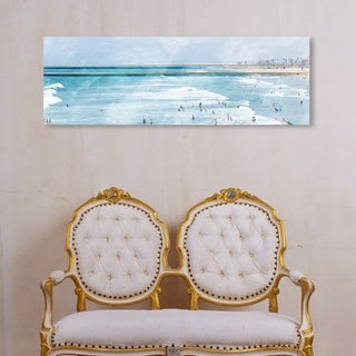 Oliver Gal 'Golden Beach Horizon' Nautical and Coastal Wall Art Canvas Print - Blue, Gold
