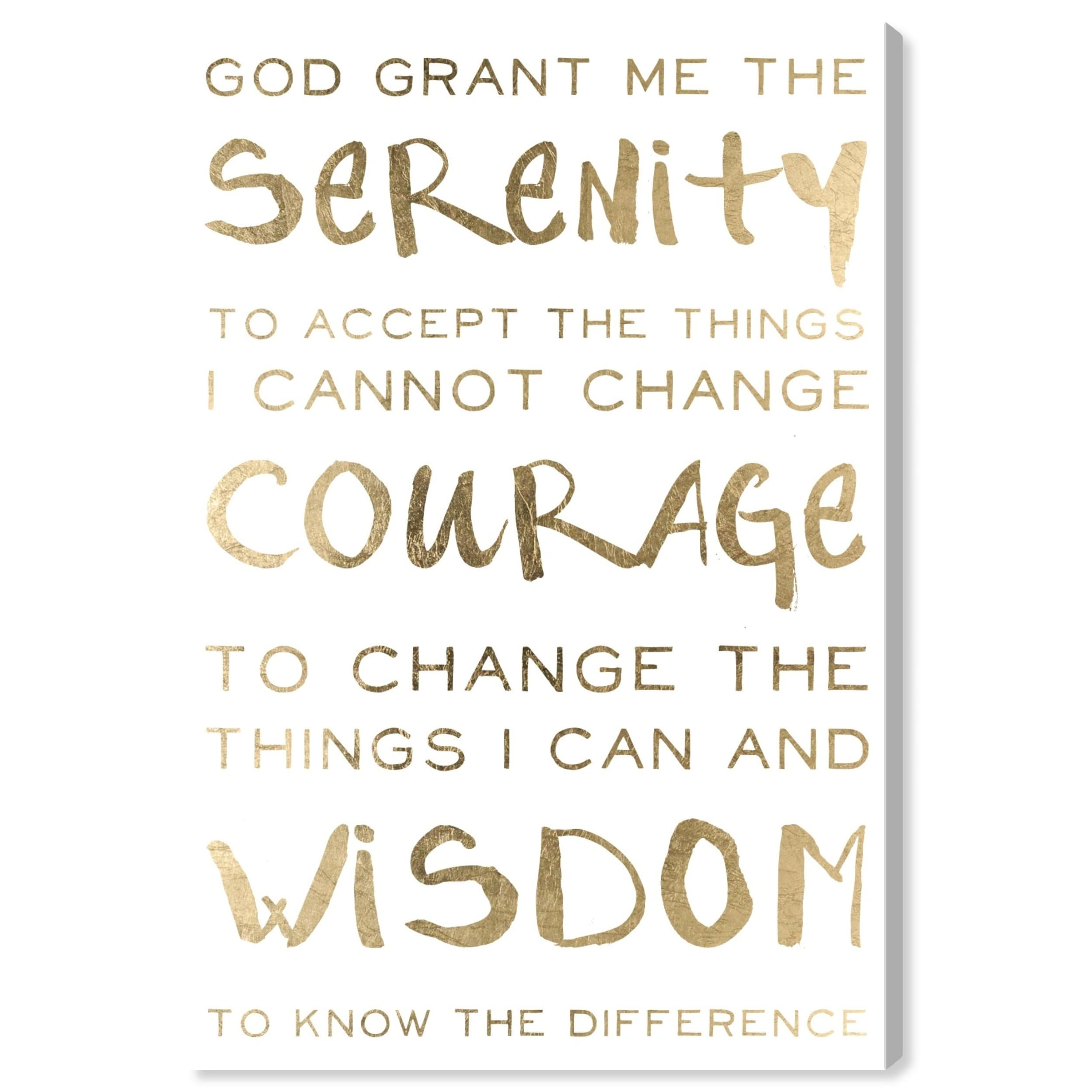 Oliver Gal \'Serenity Prayer\' Typography and Quotes Wall Art Canvas Print -  Gold, White