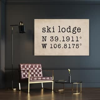 Oliver Gal 'Ski Lodge' Sports and Teams Wall Art Canvas Print - Black, Brown