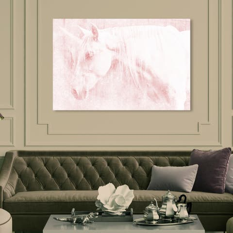 Oliver Gal 'Unicorn Rose' Fantasy and Sci-Fi Wall Art Canvas Print - Pink, White