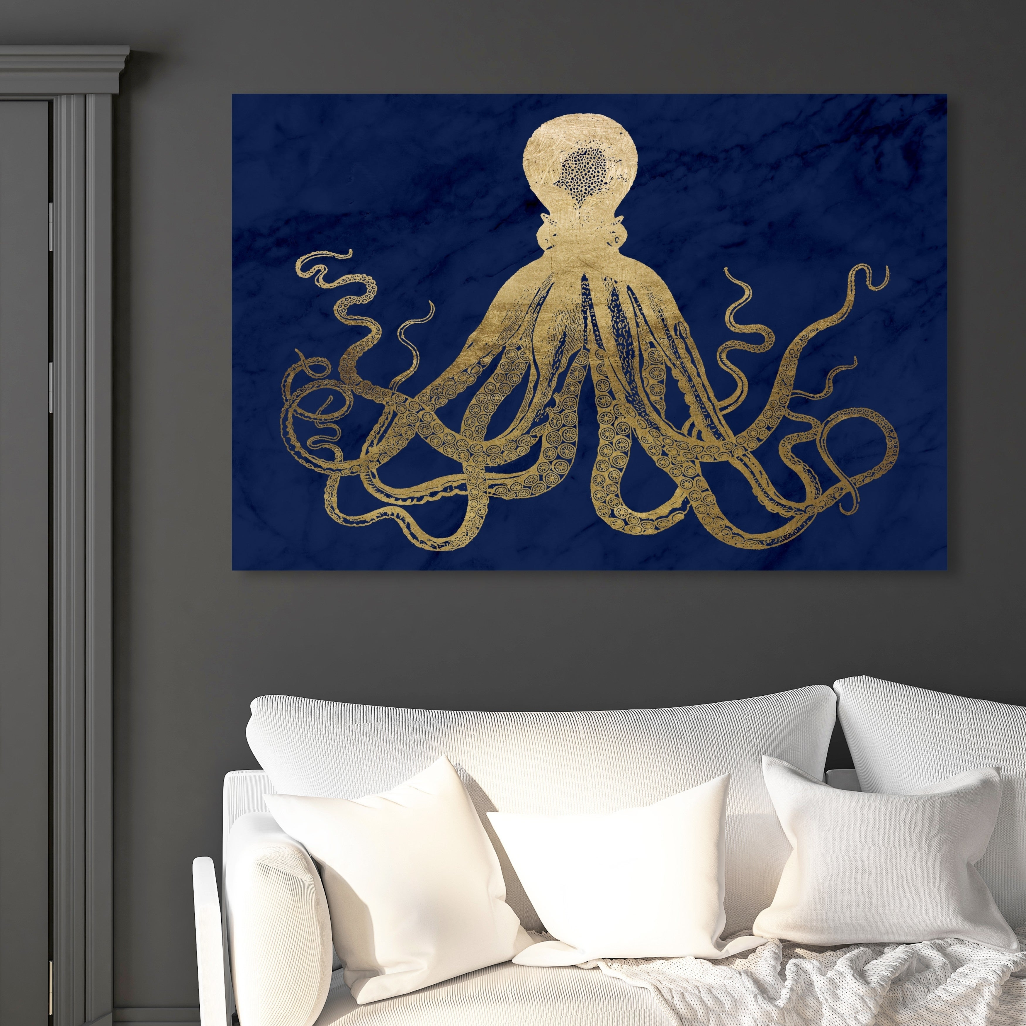 Oliver Gal Squid Gold And Navy Marble Nautical And Coastal Wall Art Canvas Print Blue Gold Overstock 28701234