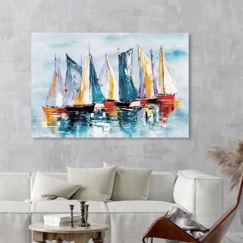 Oliver Gal 'Beautiful Boat Day' Nautical and Coastal Wall Art Canvas Print - Blue, Orange
