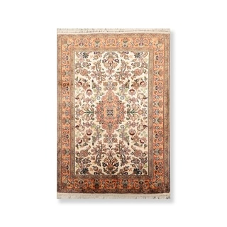 """Hand Knotted Certified Silk Kashan 340-400 KPSI Persian Oriental Area Rug (2'x3'1"""")"""
