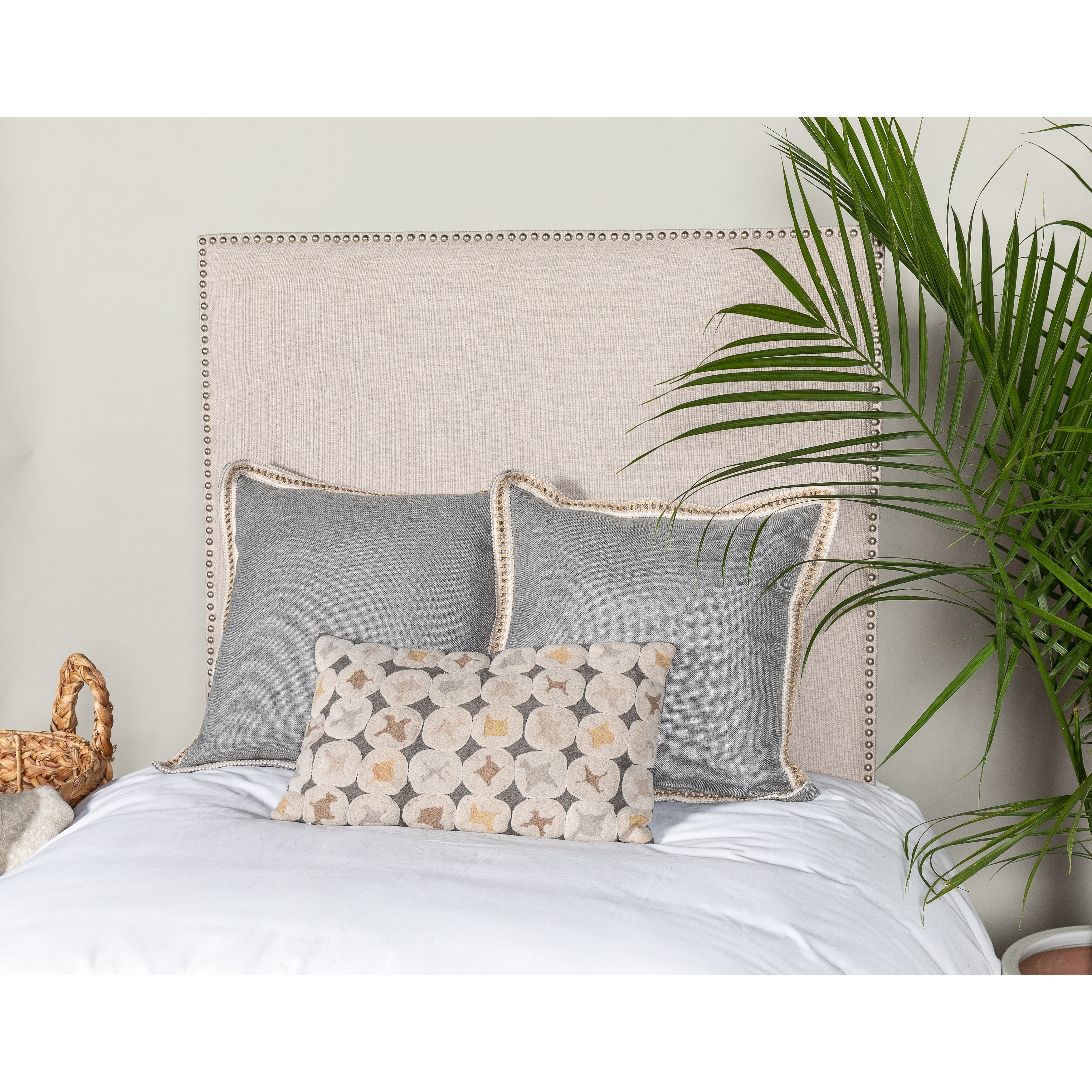 Image of: Shop Black Friday Deals On Leffler Home Riley Upholstered Twin Size Headboard With Nailhead Trim Overstock 28701416