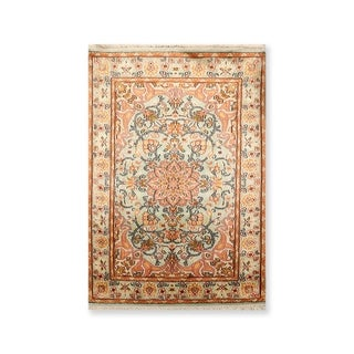 """Hand Knotted Certified Silk 340-400 KPSI Persian Oriental Area Rug (2'3""""x3')"""