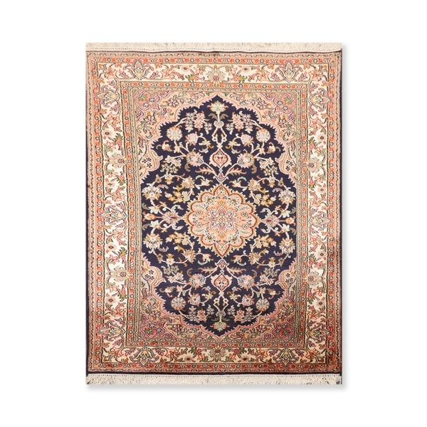"Hand Knotted Medallion ChandCertified Silk 340-400 KPSI Persian Oriental Area Rug (2'6""x4')"