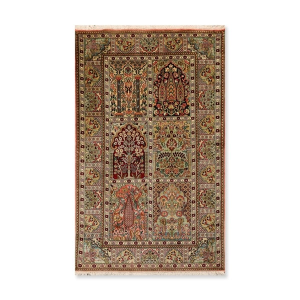 Tree of Life Hamadan Hand Knotted Certified Silk 340-400 KPSI Persian Oriental Area Rug (3'x5')