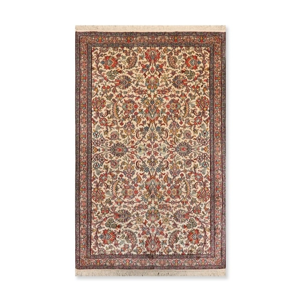 """Traditional Qum Hand Knotted Certified Silk 340-400 KPSI Persian Oriental Area Rug (3'1""""x5')"""