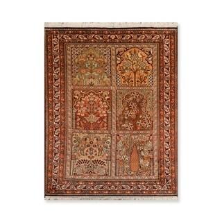 "Tree of Life Hamadan Hand Knotted Certified Silk 340-400 KPSI Persian Oriental Area Rug (2'7""x4')"