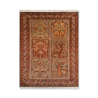 "Tree of Life Hamadan Hand Knotted Certified Silk 340-400 KPSI Persian Oriental Area Rug (2'7""x4')"