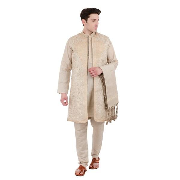 In-Sattva Mens Indian Four-Piece Ensemble Elegant Embroidered Kurta Tunic Pajama