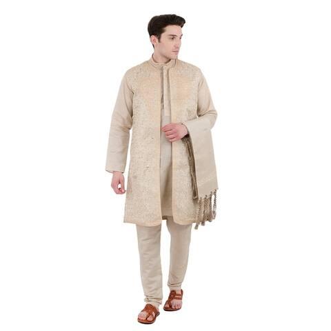 In-Sattva Men's Indian Four-Piece Ensemble Elegant Embroidered Kurta Tunic Pajama