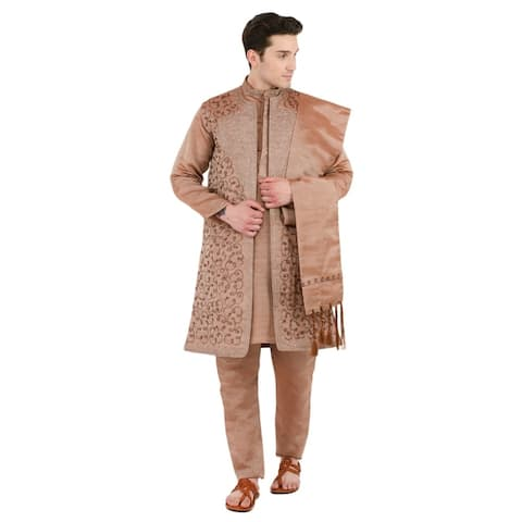 In-Sattva Men's Indian Four-Piece Ensemble Elegant Embroidered Kurta Tunic Pajama