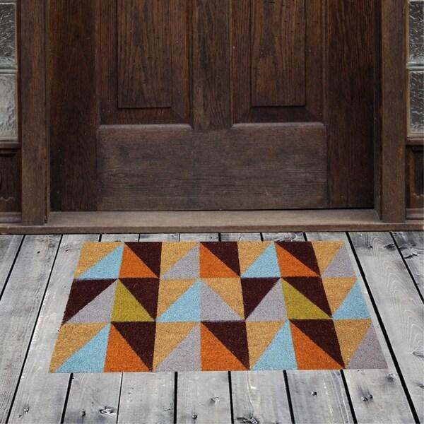 """Porch & Den Homestead Triangles Multicolored Coir Doormat - 18 x 30"""""""