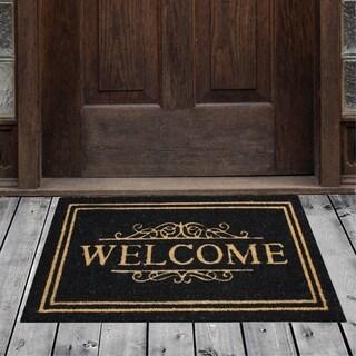 """Porch & Den Homestead Classic Welcome Black/Beige Coir Doormat - 20 x 31"""""""