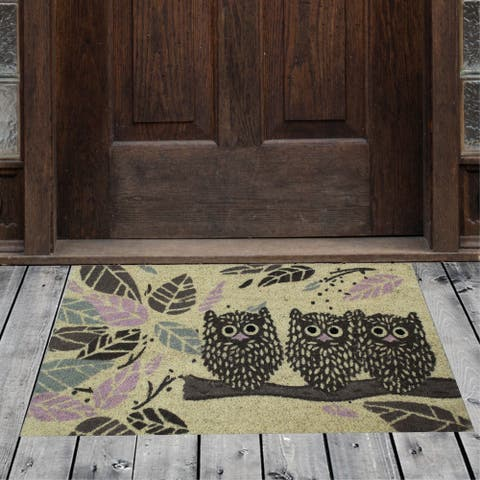 "Porch & Den Homestead Staring Owls Yellow/Brown Coir Doormat - 18 x 30"""