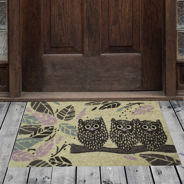 Porch & Den Homestead Staring Owls Yellow/Brown Coir Doormat - 18 x 30""