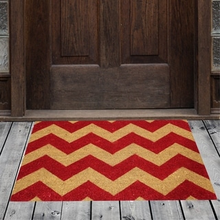 Porch & Den Homestead Chevron Black/Red Coir Doormat - 20 x 31""