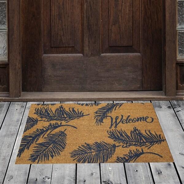 "Porch & Den Homestead Ferns Welcome Beige/Blue Coir Doormat - 18 x 30"""